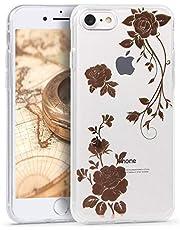 Oihxse Nuevo Flores Case Compatible con iPhone 7 Plus/iPhone 8 Plus Funda Marmol Silicona Gel Enchapado TPU Anti-Rasguño Protección Cáscara Lindo Rose Ultra Delgado Cover Caja Bumper (A15)