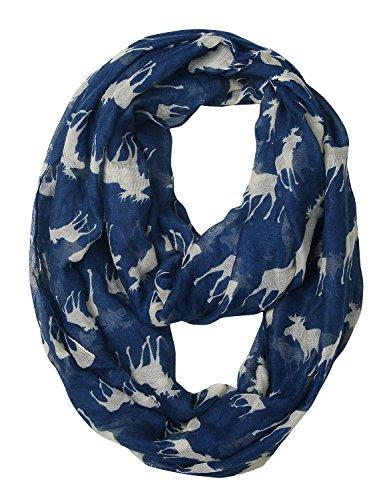 GERINLY Animal Circle Scarves: Cute Moose Print Infinity Loop Scarf For Christmas (Blue)