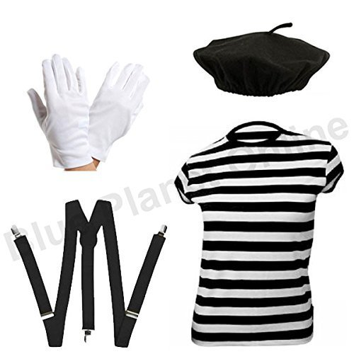 ILOVEFANCYDRESS Blue Planet Online - Ladies French Mime Artiste T Shirt, Beret, Gloves & Braces Fancy Dress (Women: 8-10)]()