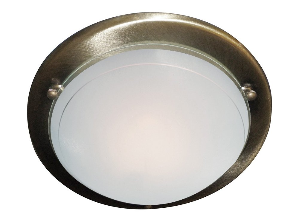 Jupiter Flush Ceiling Light Antique Brass Finish Surround with Glass Diffuser, 702AB Searchlight
