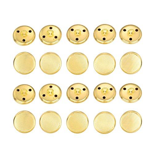 Vintage Gold Button (Hestya 20 Pieces Gold Metal Blazer Button Set Vintage Brass Button for Blazer, Suits, Sport Coat, Uniform, Jacket)