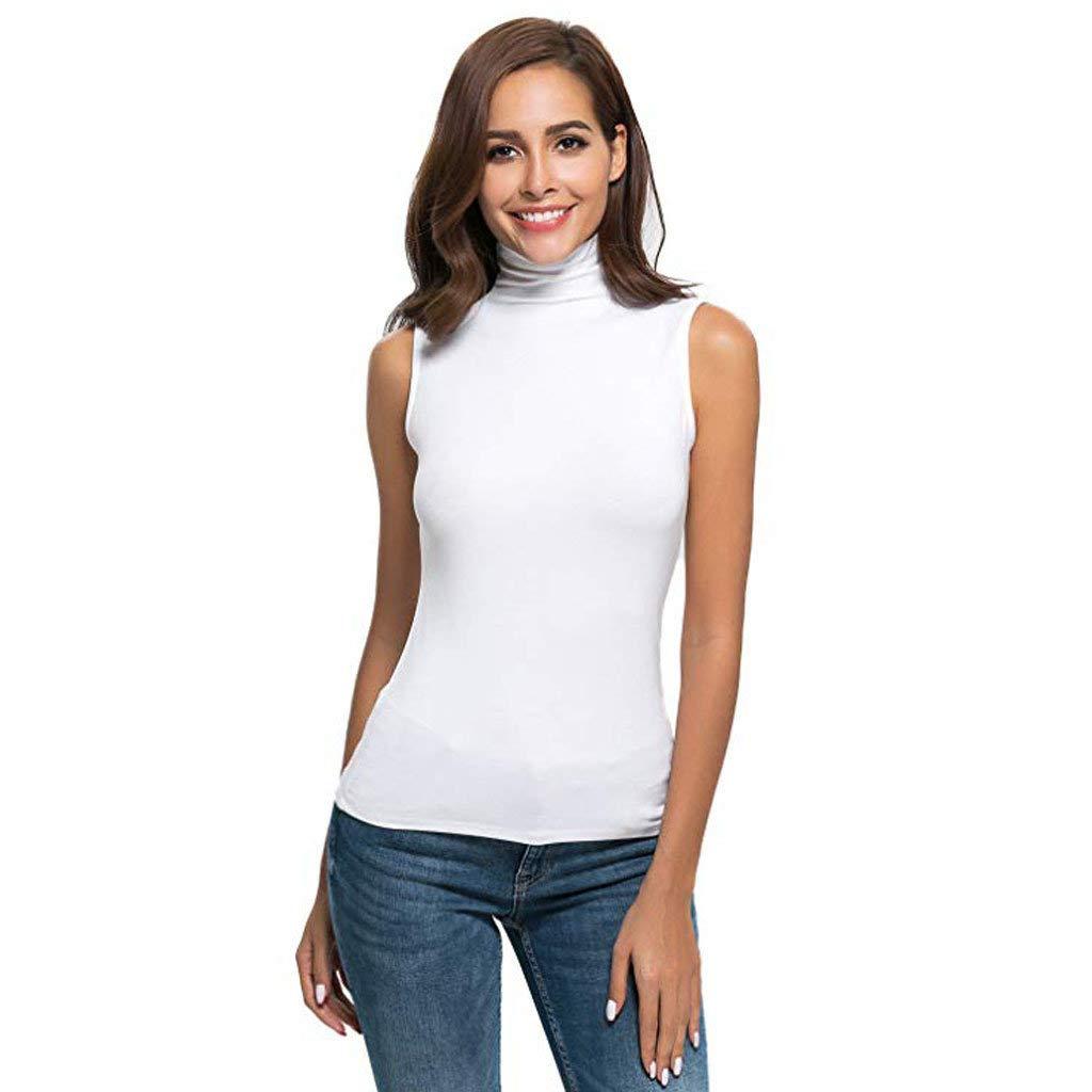e7294da5e5 Dressin Women Sleeveless High Turtleneck Mock Neck Crew Neck Pullover Slim  Fit T Shirt Tank Tops ...