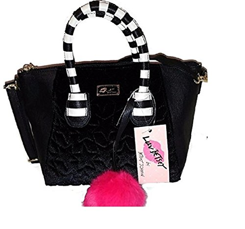 Luv Betsey Johnson Top Handle Satchel Handbag Crossbody (Black Striped Handbag)