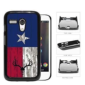 Deer Hunter Skull Bones Antlers on Texas Flag & Wood Background Motorola (Moto G) Hard Snap on Plastic Cell Phone Cover by icecream design