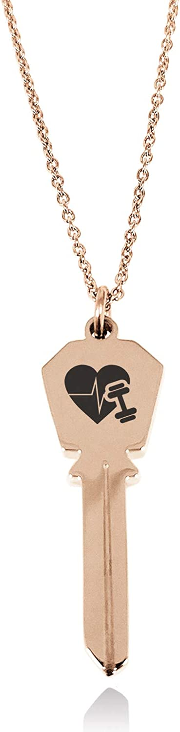 Tioneer Stainless Steel Workout Lifeline Heart Hexagon Head Key Charm Pendant Necklace
