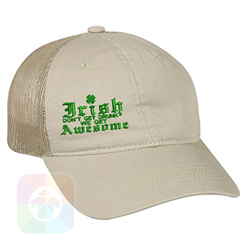 Custom Tshirts and Hats OutdoorCap Unstructured Velcro Baseball Mesh Dad Hat With ST. PATRICS Day Irish Awesome 4 Leaf Clover Design on it. #2259 by Custom Tshirts and Hats