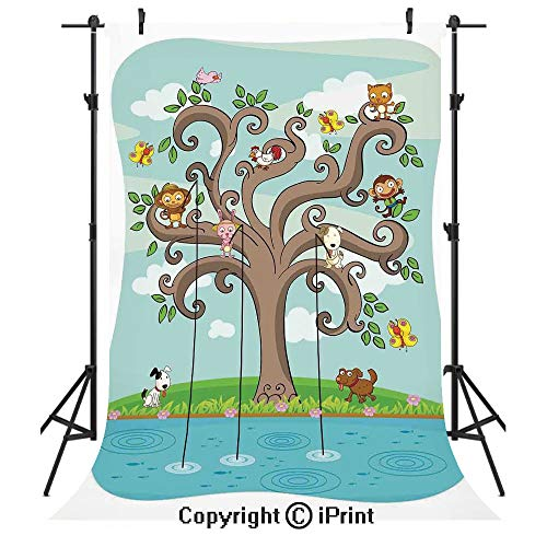 (Kids Photography Backdrops,Tree of Life Cartoon Art Monkey Doggy Bunny Bee Kitten Roosterken Birds Fishing Print Decorative,Birthday Party Seamless Photo Studio Booth Background Banner)