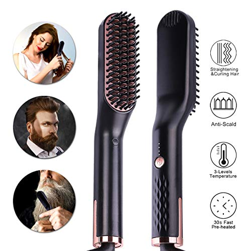 Acvioo Beard Straightener for Men - Premium Anti-Scald Mens Electric Ionic Heated Beard Hair Straightening Comb Brush - Quick Hair Straightener Styling Hot Comb - Gift for Men Women Home and Travel