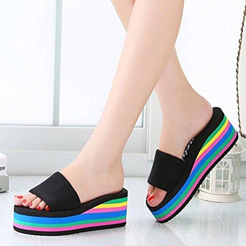 Xilalu Mujeres Verano Antideslizante Deslizamiento Casual, Sandalias Al Aire Libre De Interior Zapatos De Playa Espumas Suaves Suela Zapatillas De Piscina Negro