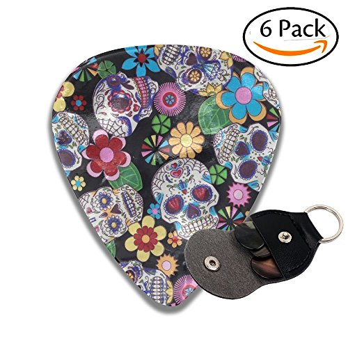 Funky Sugar Skulls Design Leather Pick Holder Keychain - 351 Shape Classic Guitar Picks (6 Pack) For Electric Guitar, Acoustic Guitar, Mandolin, And Bass (0.46mm, 0.71mm, (Skull Pick Necklace)