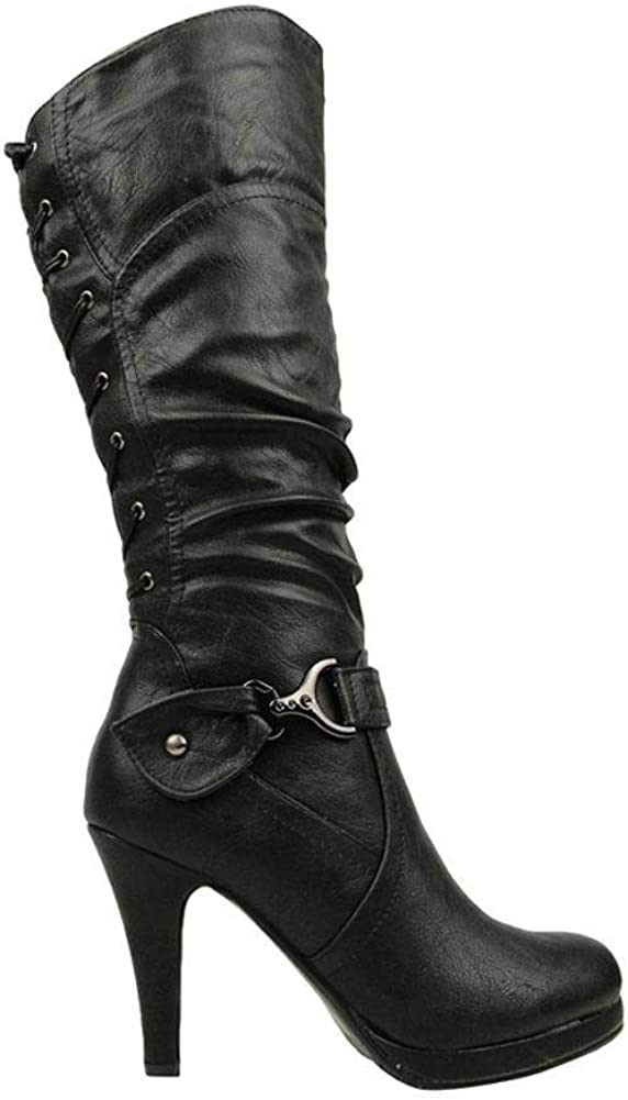 TOP Moda PAGE-65 Women's Knee High Round Toe Lace-up Slouched High Heel Boots, Black Size 10