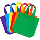 Aneco 24 Pack 9.5 9.5 inches Non-Woven Tote Bags Party Goodie Treat Bag Bottom Gift Bag Handles Kids Birthday Party Favor, 6 Colors