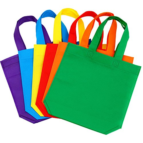 Aneco 24 Pack 9.5 by 9.5 Inches Non-Woven Tote Bags Party Goodie Treat Bag Bottom Gift Bag with Handles for Kids Birthday Party Favor, 6 Colors -