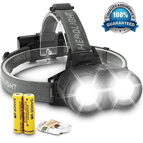 Headlamp Flashlight Bright Work Headlight - 2000 Lumen USB Rechargeable Head Lamp with Zoom Function, Waterproof LED Head Lights for Camping, Hiking, Running,Cycling Outdoors