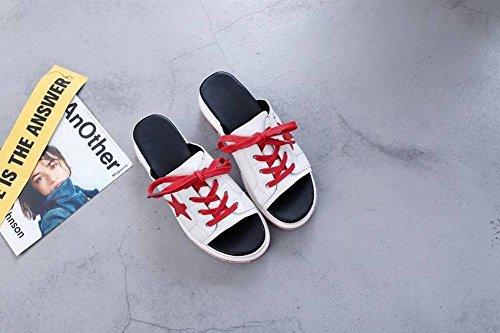 Tacón 3 Cuero de Grueso Femenino Viscos de Poliuretano Casual con Zapatos Desgaste un Mujer Estudiantes Ocio Zapatilla Moda Piel Sandalias Fondo de Tipo Dos Salvaje 5Cm Tacón Vaca Cuero Plano Muffin IFwBYSOqx