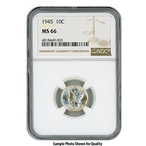 1945 Silver Mercury Dime 10 MS66 NGC