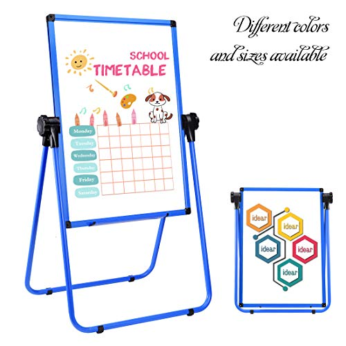 Magnetic Easel Dry Erase Board Portable U-Stand Whiteboard Height Adjustable Rotating Foldable 23x35 Inches, for Home Office School Outdoors (23x35,Blue) - Multi Use Vinyl Seating