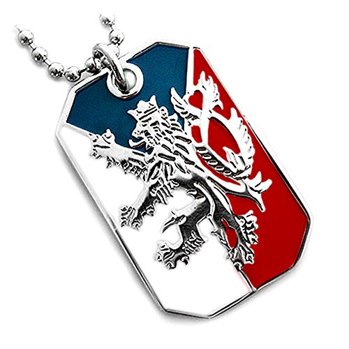 Czech Jewelry - CZECH REPUBLIC FLAG BOHEMIAN LION COAT ARMS PENDANT DOG TAG NECKLACE NICKEL FREE