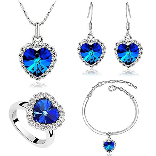 - AILUOR Titanic Heart of The Ocean Necklace Earrings Bracelet and Rings Jewelry Set, Sterling Silver Blue Sapphire Crystal Necklace Pendants Wedding Prom Jewelry (Blue)