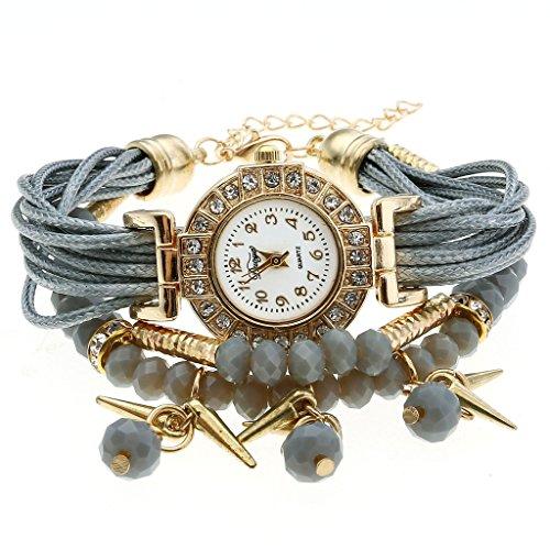 Top Plaza Ethnic Style Womens Wrap Around Watch Rhinestone Beaded Charm Layer Quartz Bracelet Watch - Grey