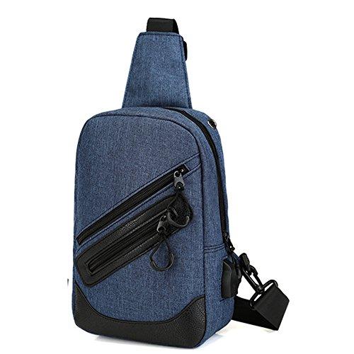 Uniqstore Canvas Unisex Brusttasche Schulter Crossbody Tasche Daypack Rucksack Tasche mit USB Ladeanschluss Grau Blau