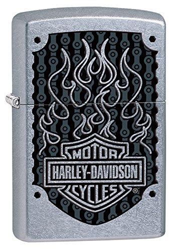 Zippo 29157 Harley Davidson Black Flames Street Chrome Finis