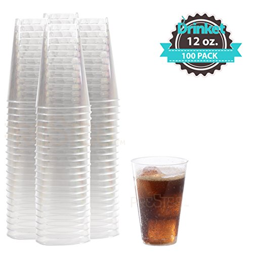 DRINKET Heavy Duty Crystal Clear Glasses Round Hard Plastic Cups Wine Tumbler Disposable 12 oz For Party Cocktail Whiskey Beer Scotch Champagne Flutes Cocktail 100 Count Bulk Water Punch Drinking Cup