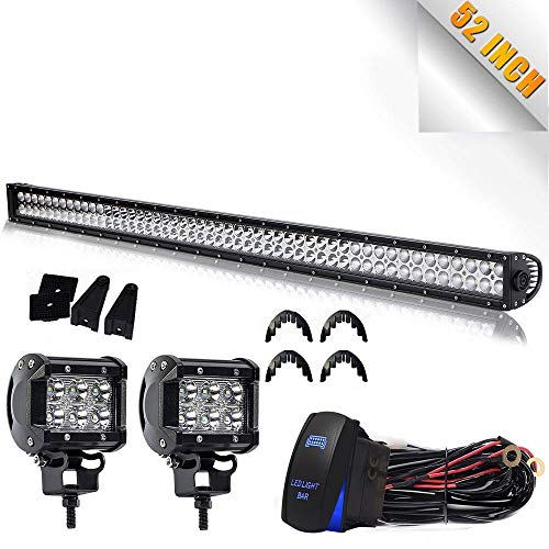 "Led Light Bar TURBOSII 52"" Inch 300W Flood Spot Combo LED Work Light Bar OffRoad Light For Jeep Truck Wrangler JK Ford Toyota Boat 4x4 GMC Chevy Silverado + 4"" Light Cube Pods"