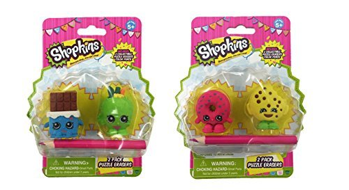 2 Eraser Set (Shopkins 2-Pack Puzzle Erasers Toy Figure Set of 4 Erasers & 2 Pencils)