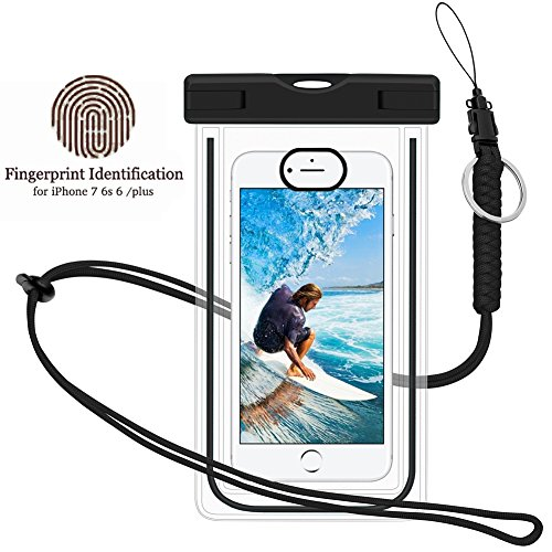 Waterproof Phone Case, Universal Dry Pouch Outdoor Cell Phone Floating Bag with Straps for iphone 7 6s 6 Plus, Samsung Galaxy S8 S7 S6 Edge Note 5 4 3 HTC One M8, M7, LG, G5, Huawei, Sony, etc (Black)