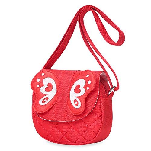 Kids Shoulder Bag Crossbody Purse Butterfly Mini Cartoon Animal Preschool Messenger Handbag for Children Toddler Baby Girls (Butterfly Red)