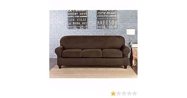 Amazon.com: Sure Fit Faux Leather Individual Cushion 3-Seat ...