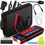 1000A Peak 21600mAh Car Jump Starter Battery Pack Portable (Up to 8.0L Gas, 6.0L Diesel Engine) 12V External Power Bank Charger Smart Emergency Auto Start Phone Booster, Cables, Cigarette Lighter