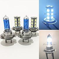 2 Pair H7 Super White 55 Watt Halogen 5000K H7 LED 18-SMD Light Blue 8000K Xenon Lamp Headlight Bulb (High/Low Beam) Car