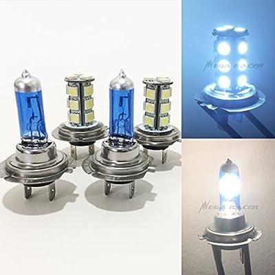 2 Pair H7 Super White 100 Watt Halogen 5000K H7 LED 18-SMD Light Blue 8000K Xenon Lamp Headlight Bulb High/Low Beam Car