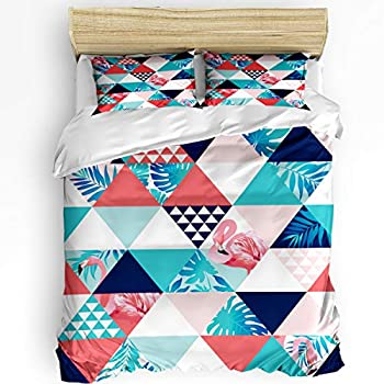 Image of Alandar Home Bedding Sets Duvet Cover 3 Pieces, Ultra Soft Bed Comforter Cover with 2 Pillowcases for Kids/Teens/Women/Men Bedroom Decoration Cartoon Flamingo Triangle Banana Leaf Colorful