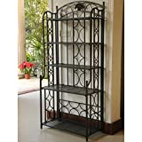 International Caravan Mandalay Iron 5-Tier Bakers Rack in Black