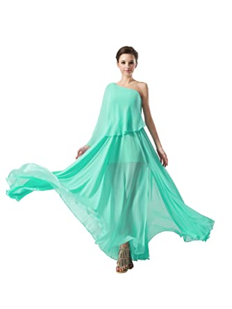 Remedios Asymmetrical Neckline Chiffon Full Length Prom Dress,Aquamarine,20