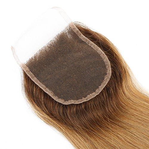 Mxangel Brazilian Human Hair Straight Ombre Tone Brown Root Honey Blond Closure 44 12