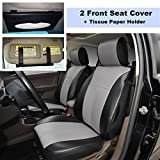 220904S Black/Grey-2 Front Car Seat Cover Cushions Leather Like Vinyl + Sun Visor Tissue Paper Holder Clip, Compatible to HYUNDAI EQUUS ACCENT AZERA TUCSON FUEL CELL 2018 2017-2007