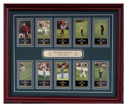 Billy Casper Framed - The Masters Golf Tournament Champions From 1970 Through 1979 Professionally Framed With Jack Nicklaus Gary Player Tom Watson Billy Casper Charles Coody Tommy Aaron Ray Floyd and Fuzzy Zoeller