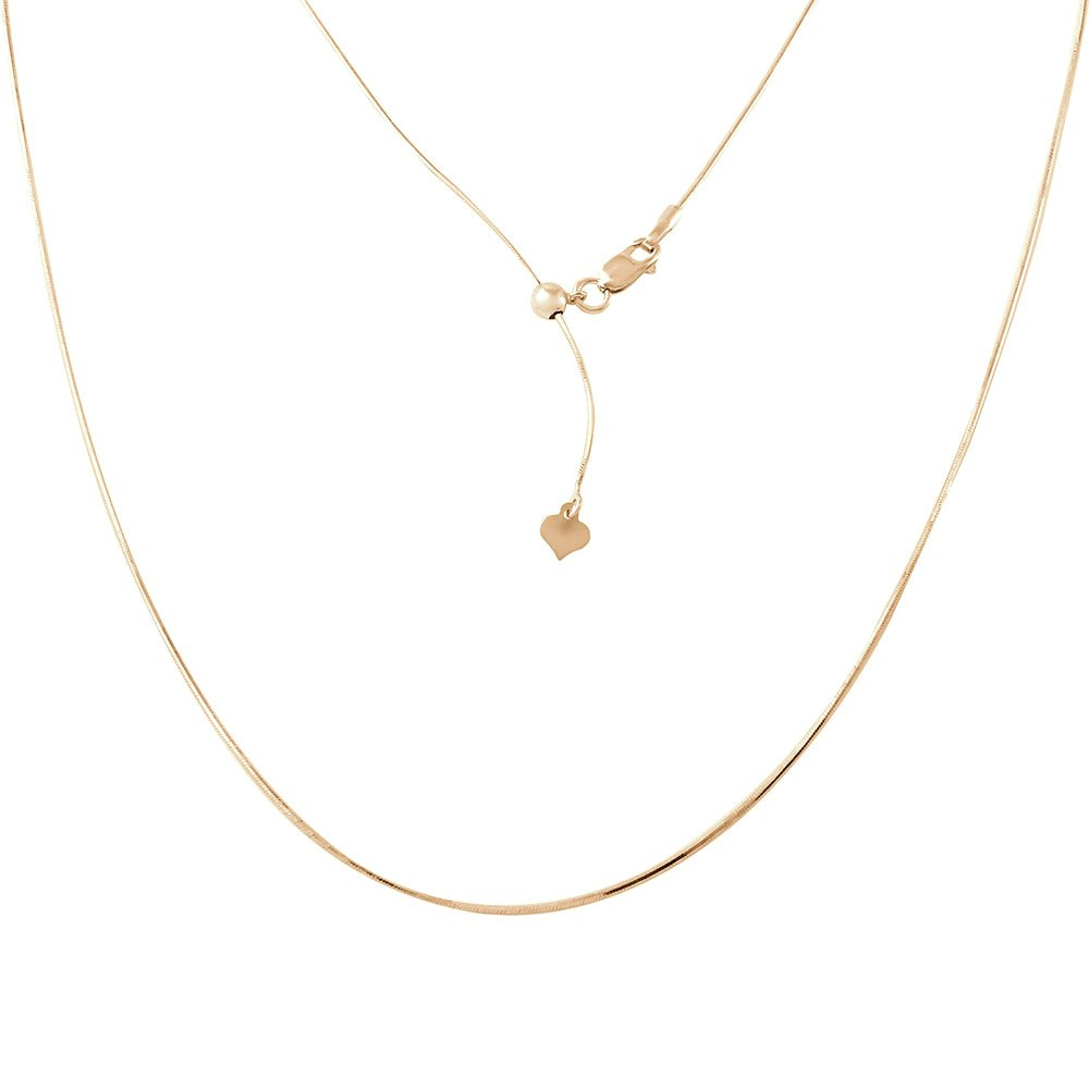 CloseoutWarehouse Yellow Gold-Tone Plated Sterling Silver Adjustable Snake Square Slider Chain With Bead