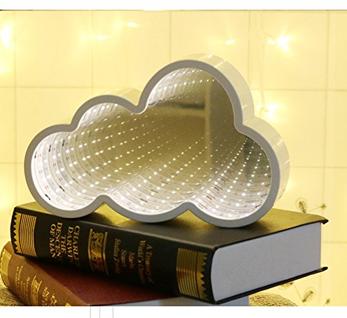 QiaoFei 3D Creative Tunnel Lamp,LED Infinity Mirror Light/Cute Cloud Sign Night Light for Chistmas,Birthday party,Kids Room, Living Room, Wedding Party Decor(Warm white) by QiaoFei