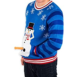 mens excited snowman ugly funny christmas sweater in blue by festified x large - Dirty Christmas Sweater