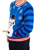 Men's Excited Snowman Ugly Funny Christmas Sweater in Blue By Festified (5X-Large)