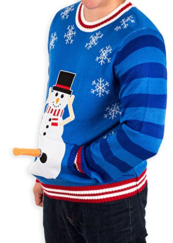 Men's Excited Snowman Ugly Funny Christmas Sweater in Blue By Festified (Large)
