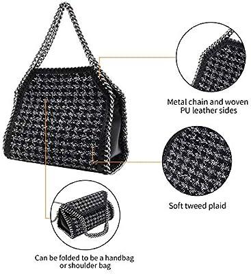 Classic Collection PACO TORA Handbags Tweed Shoulder Bag Plaid Crossbody Bag Large Capacity Tote Bag Chain Strap
