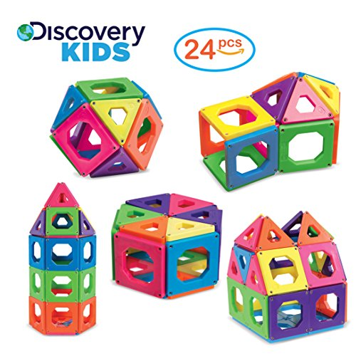 Magnetic Set (Discovery Kids Best Premium Magnetic Blocks, Magnetic Building Set, Magnetic Tiles Kit, Creativity Educational Toys for Baby/Kids, 24Piece)