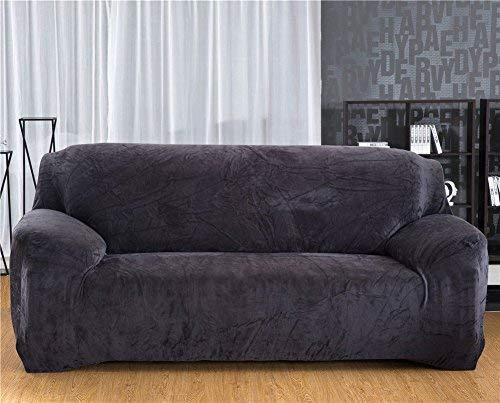 Dewel Sofabezug   Sofaschöner Sofabezug Sesselbezug Sofa elastischer Stoff kurz Plüsch Sofaabdeckung (Grau, 75-91 Inches)