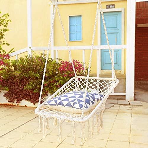 X-cosrack Hammock Chair Macrame Swing – Square Ergonomic Comfortable, Handmade Cotton Rope, Collapsible for Patio, Deck, Yard, Indoor Bedroom Garden Balconies US Patent
